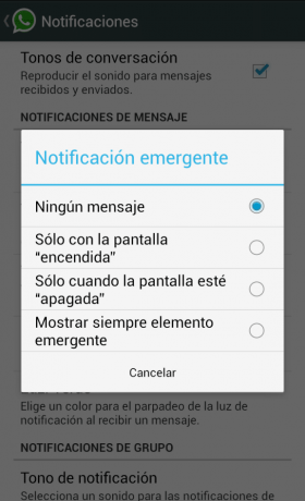 Notificacion emergente whatsapp