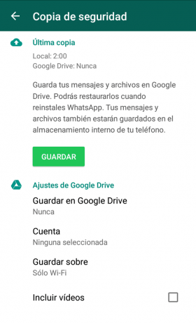 Borrar copias seguridad Whatsapp Google Drive